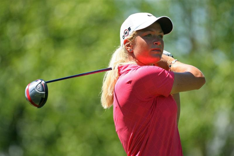GLADSTONE, NJ - MAY 20 : Suzann Pettersen of Norway watches her tee shot on the 10th hole during the first round of the Sybase Match Play Championship at Hamilton Farm Golf Club on May 20, 2010 in Gladstone, New Jersey. (Photo by Hunter Martin/Getty Images)