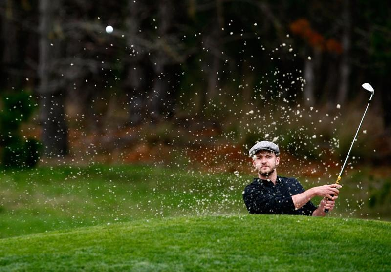 PEBBLE BEACH, CA - FEBRUARY 12:  Justin Timberlake hits a bunker shot to the sixth green during the first round of the AT&T Pebble Beach National Pro-Am at the Spyglass Hill Golf Course on February 12, 2009 in Pebble Beach, California.  (Photo by Jeff Gross/Getty Images)
