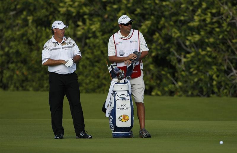 PLAYA DEL CARMEN, MEXICO - FEBRUARY 24:  Boo Weekley stands by his golf bag during the first round of the Mayakoba Golf Classic at Riviera Maya-Cancun held at El Camaleon Golf Club on February 24, 2011 in Playa del Carmen, Mexico.  (Photo by Michael Cohen/Getty Images)