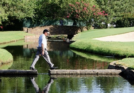 TULSA, OK - AUGUST 10:  Woody Austin crosses a bridge on the sixth hole during the second round of the 89th PGA Championship at the Southern Hills Country Club on August 10, 2007 in Tulsa, Oklahoma.  (Photo by Jeff Gross/Getty Images)