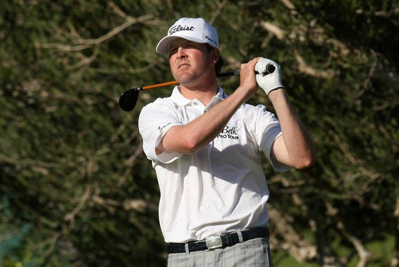 PACIFIC PALISADES, CA - FEBRUARY 19:  D.J. Trahan hits his tee shot on the fourth hole during the first round of the Northern Trust Open at Riviera Country Club February 19, 2009 in Pacific Palisades. California.  (Photo by Stephen Dunn/Getty Images)