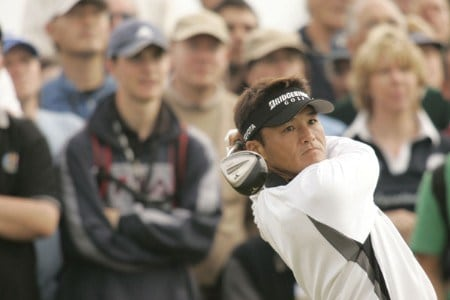 Shigeki Maruyama plays his tee shot on the 5th hole during the first round of the 2005 British Open Golf Championship at the Royal and Ancient Golf Club in St. Andrews, Scotland on July 14, 2005Photo by Pete Fontaine/WireImage.com