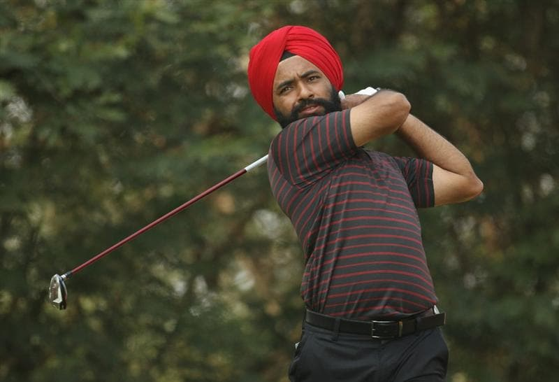 NEW DELHI, INDIA - FEBRUARY 19:  Sujjan Singh of India in action during the third round of the Avantha Masters held at The DLF Golf and Country Club on February 19, 2011 in New Delhi, India.  (Photo by Ian Walton/Getty Images)