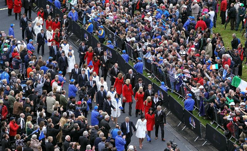 NEWPORT, WALES - SEPTEMBER 30:  Team Captain of the USA Corey Pavin (R) and Wife Lisa, and Colin Montgomerie of Europe and Wife Gaynor lead out the players and their wives and girlfriends during the Opening Ceremony prior to the 2010 Ryder Cup at the Celtic Manor Resort on September 30, 2010 in Newport, Wales.  (Photo by Andy Lyons/Getty Images)
