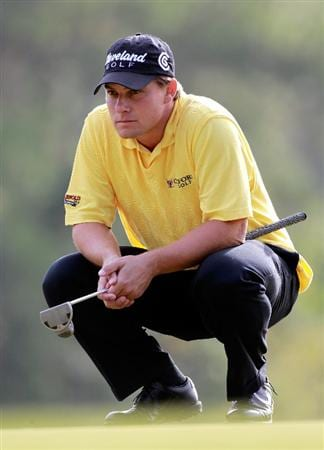 LAKE BUENA VISTA, FL - NOVEMBER 12:  Roland Thatcher looks over a birdie putt on the 6th hole during the second round of the Children's Miracle Network Classic at the Disney Palm and Magnolia course on November 12, 2010 in Lake Buena Vista, Florida.  (Photo by Sam Greenwood/Getty Images)