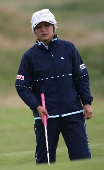 ST ANDREWS, UNITED KINGDOM - AUGUST 01:  Angela Park of Korea watches her putt on the 17th green during the Pro-Am prior to the 2007 Ricoh Women's British Open held on the Old Course at St Andrews on August 1, 2007 in St Andrews, Scotland. (Photo by Warren Little/Getty Images)