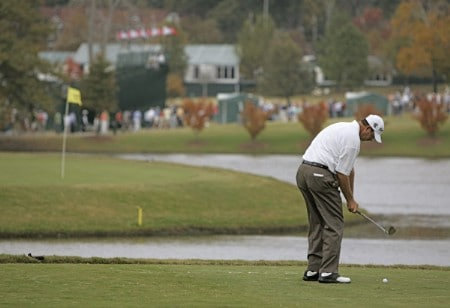 Bart Bryant hitting from the drop zone during the final round of THE TOUR Championship at East Lake Golf Club in Atlanta, Georgia on November 6, 2005.Photo by Sam Greenwood/WireImage.com