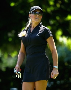 EVIAN, FRANCE - JULY 27:  Natalie Gulbis of the USA prepares to hit her tee-shot on the fifth hole during the final round of the Evian Masters at the Evian Masters Golf Club on July 27, 2008 in Evian, France.  (Photo by Andrew Redington/Getty Images)