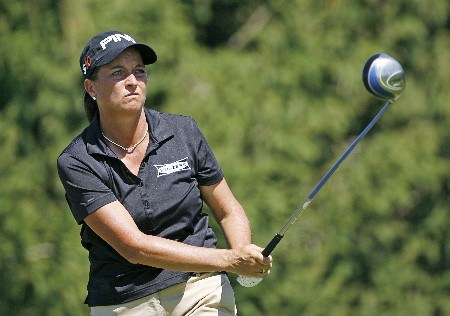 SPRINGFIELD, IL - SEPTEMBER 2: Sherri Steinhauer hits her tee shot on the 16th hole during the final round of the State Farm Classic at Panther Creek Country Club on September 2, 2007 in Springfield, Illinois. (Photo by Hunter Martin/Getty Images)
