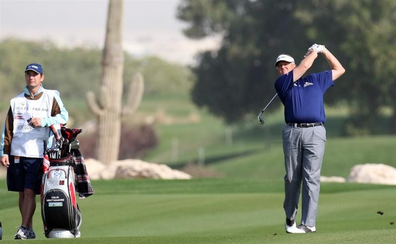 DOHA, QATAR - JANUARY 21:  Colin Montgomerie of Scotland in action during the pro-am event prior to the Commercialbank Qatar Masters at the Doha Golf Club on January 21,2009 in Doha, Qatar.  (Photo by Ross Kinnaird/Getty Images)