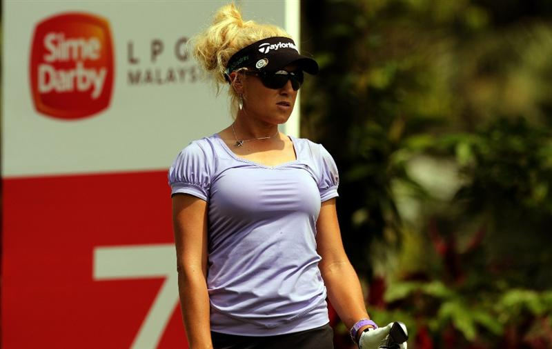 KUALA LUMPUR, MALAYSIA - OCTOBER 21:  Natalie Gulbis of USA looks ahead on the 7th hole during the Sime Darby Pro-Am at the KLGCC Golf Course on October 21, 2010 in Kuala Lumpur, Malaysia.  (Photo by Stanley Chou/Getty Images)
