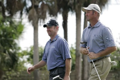 Rod Pampling (L) and partner Jerry Kelly during the third and final round of the Merrill Lynch Shootout at the Tiburon Golf Club in Naples, Florida on November 12, 2006. PGA TOUR - 2006 Merrill Lynch Shootout - Final RoundPhoto by Michael Cohen/WireImage.com