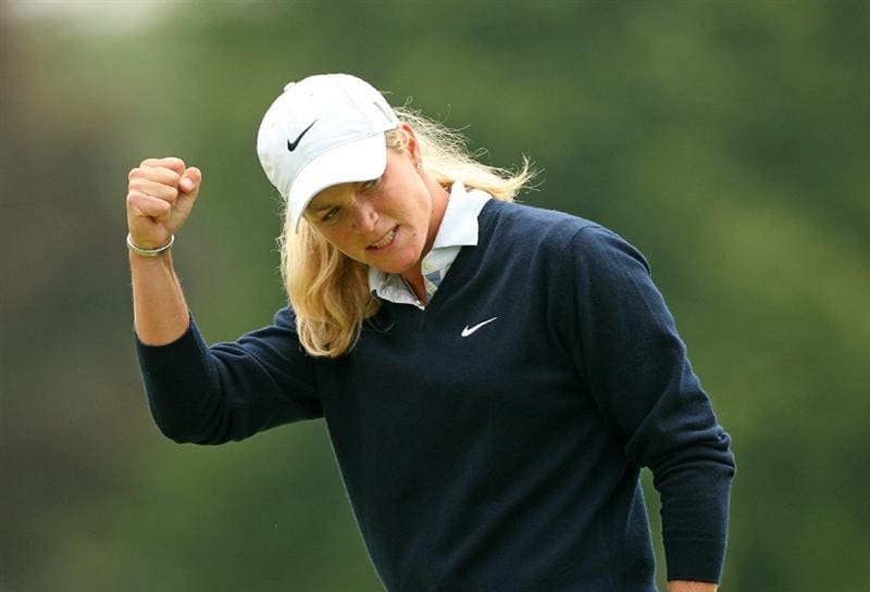 CLIFTON, NJ - MAY 16 : Suzann Pettersen of Norway reacts after making her birdie putt on the 9th hole during the third round of the Sybase Classic presented by ShopRite at Upper Montclair Country Club on May 16, 2009 in Clifton, New Jersey. (Photo by Hunter Martin/Getty Images)