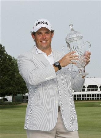 MEMPHIS, TN - JUNE 13: Lee Westwood of England holds up the championship trophy after winning the St. Jude Classic at TPC Southwind held on June 13, 2010 in Memphis, Tennessee.  (Photo by John Sommers II/Getty Images)