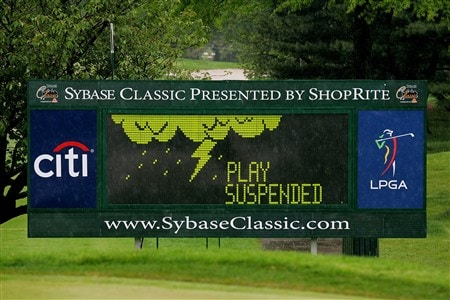 CLIFTON, NJ - MAY 16:  A leaderboard shows play being suspended due to rain early in the second round of the Sybase Classic presented by ShopRite on May 16, 2008 at the Upper Montclair Country Club in Clifton, New Jersey.  (Photo by Travis Lindquist/Getty Images)