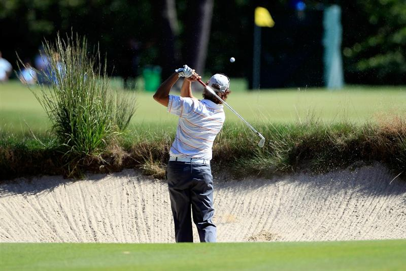 NORTON, MA - SEPTEMBER 04:  Stephen Ames of Canada fails to hit out of the bunker on the fifth hole in the second round of the Deutsche Bank Championship at TPC Boston on September 4, 2010 in Norton, Massachusetts.  (Photo by Michael Cohen/Getty Images)