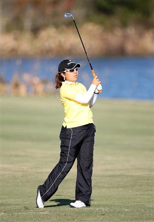 DAYTONA BEACH, FL - DECEMBER 03:  Mika Miyazato of Japan plays a shot on the 18th hole during the first round of LPGA Qualifying School at LPGA International on December 3, 2008 in Daytona Beach, Florida.  (Photo by Sam Greenwood/Getty Images)