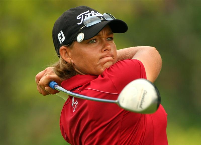 SINGAPORE - MARCH 07:  Katherine Hull of Australia hits her tee-shot on the fifth hole during the third round of the HSBC Women's Champions at Tanah Merah Country Club on March 7, 2009 in Singapore.  (Photo by Andrew Redington/Getty Images)