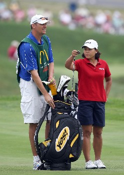 HAVRE DE GRACE, MD - JUNE 10:  Kim Saiki-Maloney of the USA prepares to hit her second shot at the par 4, 1st hole during the final round of the 2007 McDonald's LPGA Championship on June 10, 2007 at Bulle Rock Golf Course in Havre de Grace, Maryland.  (Photo by David Cannon/Getty Images)
