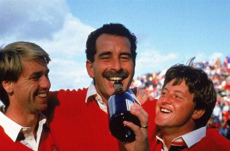 15 Sep 1985:  (L to R) Paul Way, Sam Torrance and Ian Woosnam of the European team crack open the champagne to celebrate victory over the USA in the Ryder Cup at the Belfry in Sutton Coldfield in England.  \ Mandatory Credit: Simon Bruty /Allsport