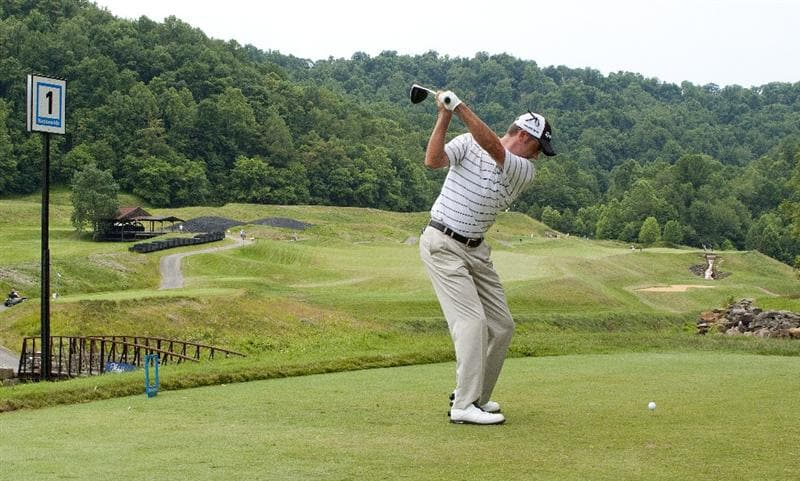 BRIDGEPORT, WV - JUNE 28: Jeff Gove prepares to hit his tee shot on the first hole during the final round of the Nationwide Tour Players Cup at Pete Dye Golf Club on June 28, 2009 in Bridgeport, West Virginia. (Photo by Chris Keane/Getty Images)
