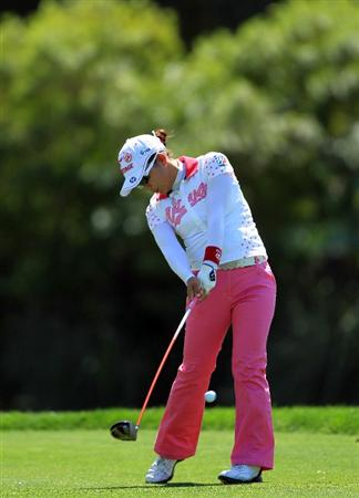 RANCHO MIRAGE, CA - APRIL 03:  Chie Arimura of Japan plays her tee shot on the par 4, 6th hole during the final round of the 2011 Kraft Nabisco Championship on the Dinah Shore Championship Course at the Mission Hills Country Club on April 3, 2011 in Rancho Mirage, California.  (Photo by David Cannon/Getty Images)