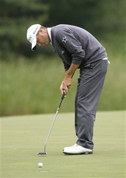 DULUTH, GA - MAY 15:  Ryan Palmer makes a birdie on the seventh hole during the first round of the AT&T Classic at TPC Sugarloaf on May 15, 2008 in Duluth, Georgia.  (Photo by Matt Sullivan/Getty Images)