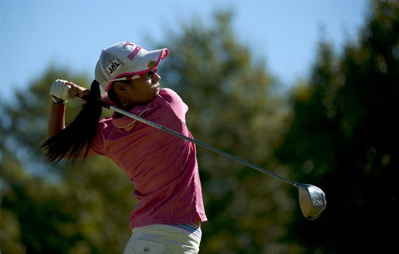 ROGERS, AR - SEPTEMBER 12:  Ai Miyazato of Japan makes a tee shot on the first hole during the final round of the P&G NW Arkansas Championship at the Pinnacle Country Club on September 12, 2010 in Rogers, Arkansas.  (Photo by Robert Laberge/Getty Images)