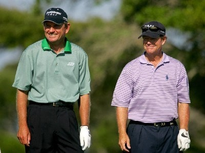 Nick Price and Tom Watson during the second round of Senior PGA Championship on the Ocean Course at the Kiawah Island Resort on May 25, 2007 in Kiawah Island, South Carolina. 2007 Senior PGA Championship - Second RoundPhoto by Mike Ehrmann/WireImage.com