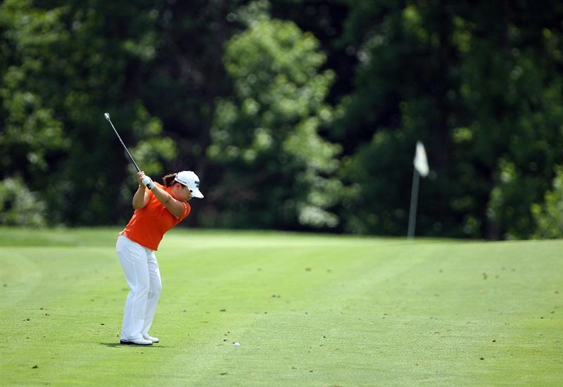 HAVRE DE GRACE, MD - JUNE 14:  Jiyai Shin of South Korea hits her second shot on the first hole during the final round of the McDonald's LPGA Championship at Bulle Rock Golf Course on June 14, 2009 in Havre de Grace, Maryland.  (Photo by Andy Lyons/Getty Images)