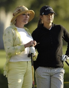 Leta Lindley and Elke Sommer during the Celebrity Pro-Am at the Kraft Nabisco Championships at The Mission Hills Country Club in Rancho Mirage, California on Wednesday, March 29, 2006.Photo by Steve Levin/WireImage.com
