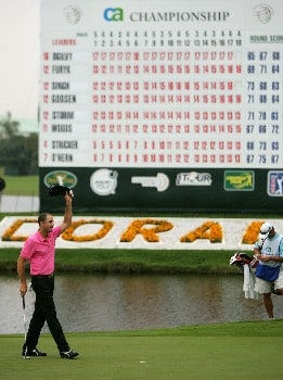 MIAMI - MARCH 24:  Geoff Ogilvy of Australia celebrates winning the 2008 World Golf Championships CA Championship on a score of 17 under par at the Doral Golf Resort & Spa, on March 24, 2008 in Miami, Florida.  (Photo by Warren Little/Getty Images)