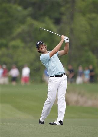 HUMBLE, TX - APRIL 03:  Aaron Baddeley of Australia hits his second shot on the sixth hole during the final round of the Shell Houston Open at Redstone Golf Club on April 3, 2011 in Humble, Texas.  (Photo by Michael Cohen/Getty Images)