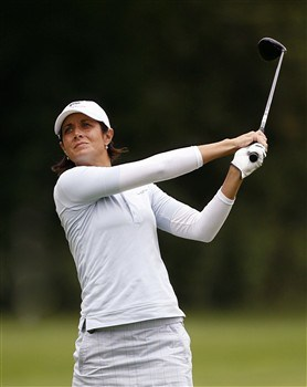 ROCHESTER, NY - JUNE 19: Laura Diaz hits her second shot on the 4th hole during the first round of the Wegmans LPGA at Locust Hill Country Club on June 19, 2008 in Rochester, New York. (Photo by Hunter Martin/Getty Images)