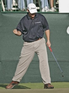 Johnson Wagner celebrates his winning put during the final round of the Chitimacha Louisiana Open at Le Triomphe Country Club in Broussard, Louisiana on Sunday, March 26, 2006.Photo by Drew Hallowell/WireImage.com