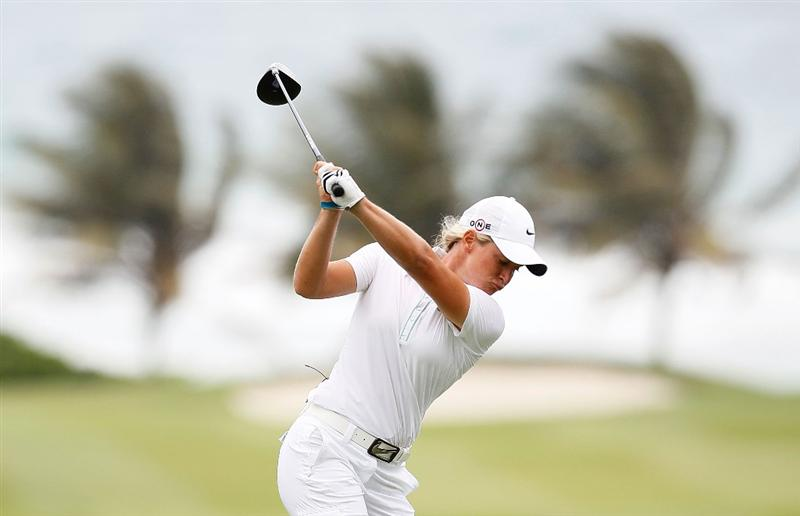 MONTEGO BAY, JAMAICA - APRIL 15:  Suzann Pettersen of Norway tees off the fifth hole during the second round of The Mojo 6 Jamaica LPGA Invitational at Cinnamon Hill Golf Course on April 15, 2010 in Montego Bay, Jamaica.  (Photo by Kevin C. Cox/Getty Images)