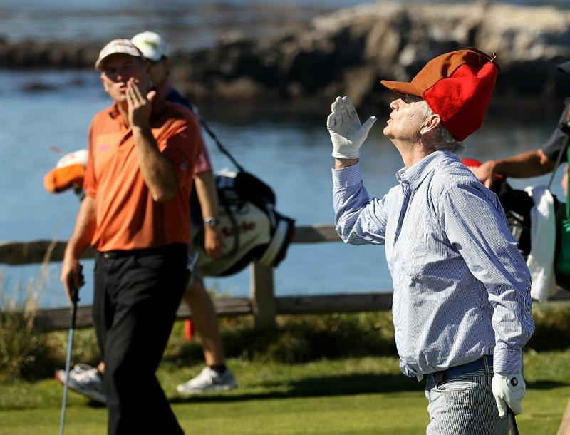 PEBBLE BEACH, CA - FEBRUARY 12:  Actor Bill Murray blows kisses to his playing partner, D.A. Points, after they teed off on the 7th hole during the third round of the AT&T Pebble Beach National Pro-Am at the Pebble Beach Golf Links on February 12, 2011 in Pebble Beach, California.  (Photo by Ezra Shaw/Getty Images)