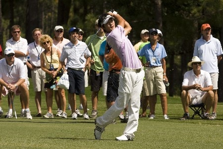 PINEHURST, NC - AUGUST 24: Danny Lee of New Zealand hits his approach shot on the 11th hole during the final round of the U.S. Amateur Championship at Pinehurst Resort & Country Club August 24, 2008 in Pinehurst, North Carolina. (Photo by Chris Keane/Getty Images)
