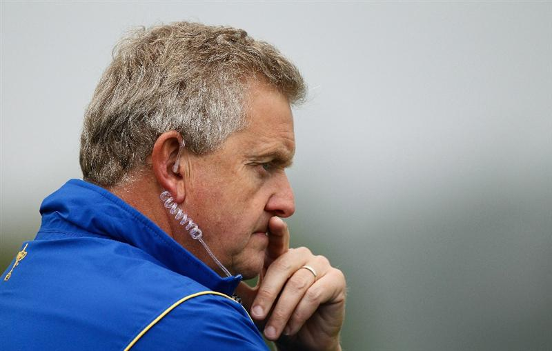 NEWPORT, WALES - SEPTEMBER 28:  Europe Team Captain Colin Montgomerie looks on during a practice round prior to the 2010 Ryder Cup at the Celtic Manor Resort on September 28, 2010 in Newport, Wales.  (Photo by Sam Greenwood/Getty Images)