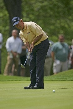 Larry Nelson putts on #14 during the first round of the 2005 Senior PGA Championship at Laurel Valley Golf Club - Ligonier, Pennsylvania. May 26, 2005Photo by Chris Condon/WireImage.com