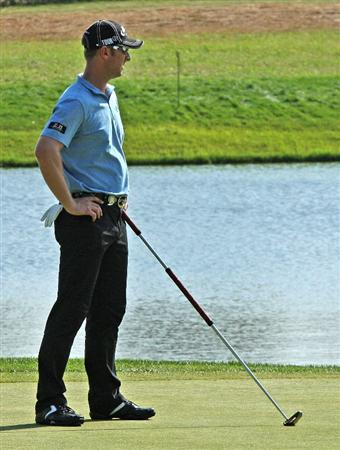 CHASKA, MN - AUGUST 14:  Brendan Jones of Australia waits on the eighth green during the second round of the 91st PGA Championship at Hazeltine National Golf Club on August 14, 2009 in Chaska, Minnesota.  (Photo by David Cannon/Getty Images)