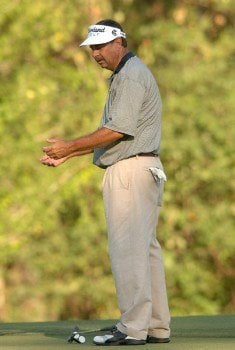 Brad Bryant reacts to a missed putt on the 17th green during the final round of the Champion's TOUR Administaff Small Business Classic at Augusta Pines Country Club in Spring, Texas Photo by Steve Grayson/WireImage.com