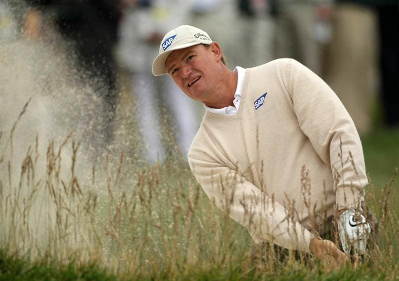 PEBBLE BEACH, CA - JUNE 18:  Ernie Els of South Africa plays a bunker shot on the 15th hole during the second round of the 110th U.S. Open at Pebble Beach Golf Links on June 18, 2010 in Pebble Beach, California.  (Photo by Andrew Redington/Getty Images)