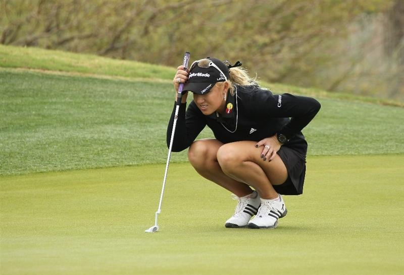 PHOENIX, AZ - MARCH 20:  Natalie Gulbis lines up a putt on the seventh hole during the final round of the RR Donnelley LPGA Founders Cup at Wildfire Golf Club on March 20, 2011 in Phoenix, Arizona.  (Photo by Stephen Dunn/Getty Images)