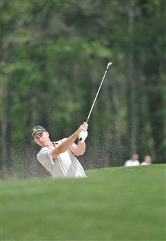HUMBLE, TX - APRIL 4:  Geoff Ogilvy of Australia blasts out of the fairway bunker on the second hole during the second round of the 2008 Shell Houston Open at the Redstone Golf Club April 4, 2008 in Humble, Texas.  (Photo by Marc Feldman/Getty Images)
