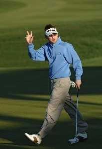 Heath Slocum birdies  on the 18th green during the fifth and final round of the Bob Hope Classic at The Classic Course on Sunday, January 21, 2007 in Palm Springs, California PGA TOUR - 2007 Bob Hope Chrysler Classic - Final RoundPhoto by Marc Feldman/WireImage.com