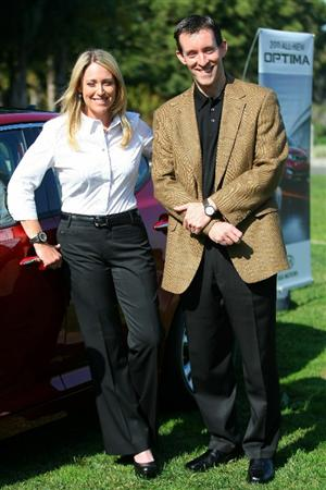 CITY OF INDUSTRY, CA - FEBRUARY 01:  LPGA Player Cristie Kerr and VP, Marketing & Communications of Kia Michael Sprague pose for a photo during Kia Classic Media Day at Pacific Palms Resort on February 1, 2011 in City of Industry, California.  (Photo by Victor Decolongon/Getty Images)
