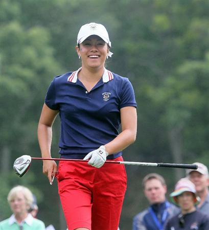 MANCHESTER, MA - JUNE 12: Stephanie Kono of the United States reacts in Four Ball competition during the second day of the 2010 Curtis Cup Match at the Essex Country Club on June 12, 2010 in Manchester, Massachusetts. (Photo by Jim Rogash/Getty Images)