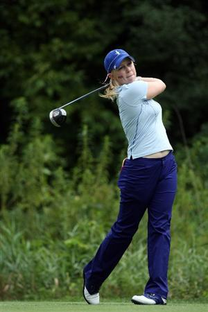 SUGAR GROVE, IL - AUGUST 21:  Morgan Pressel of the USA playing her tee shot at the 9th hole during the Friday morning fourball matches at the 2009 Solheim Cup Matches, at the Rich Harvest Farms Golf Club on August 21, 2009 in Sugar Grove, Ilinois  (Photo by David Cannon/Getty Images)