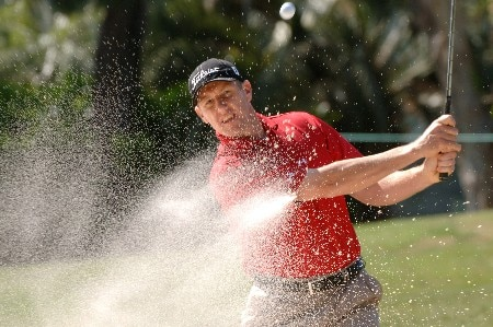 Craig Perks blasts from the sand on the sixth hole  during  the  second round of the MCI Heritage at Harbour Town Golf Links April 15, 2005  at Hilton Head Island.Photo by Al Messerschmidt/WireImage.com